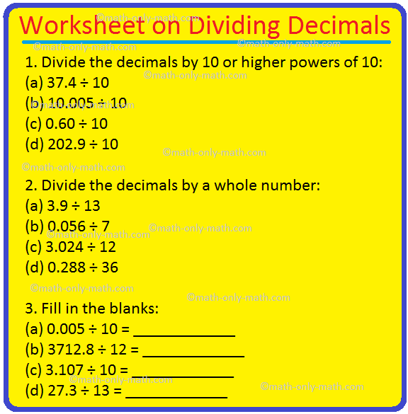 Worksheet On Dividing Decimals Huge Number Of Decimal Division Prob