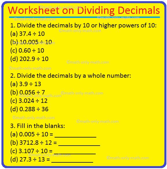 Worksheet on Dividing Decimals