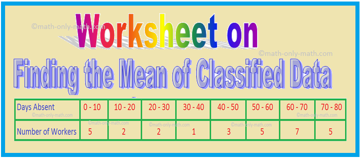 Worksheet on Finding the Mean of Classified Data