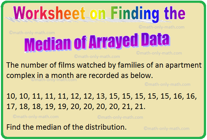 Worksheet on Finding the Median of Arrayed Data
