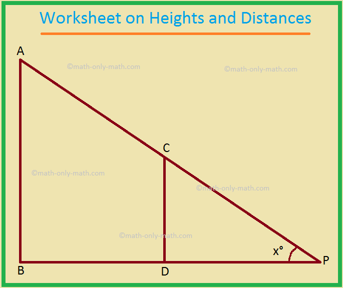 Worksheet on Heights and Distances
