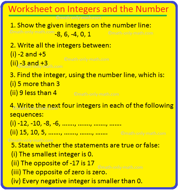 Worksheet on Integers and the Number Line