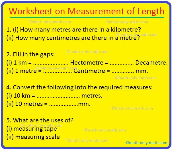 Worksheet on Measurement of Length