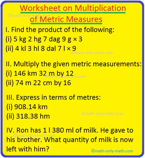 Worksheet on Multiplication of Metric Measures