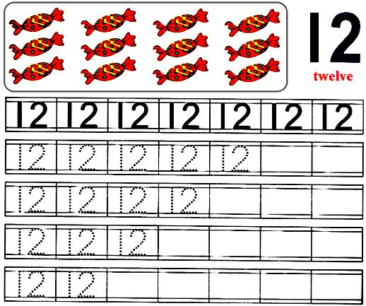 Worksheet on Number 12 | Preschool Number Worksheets | Number 12