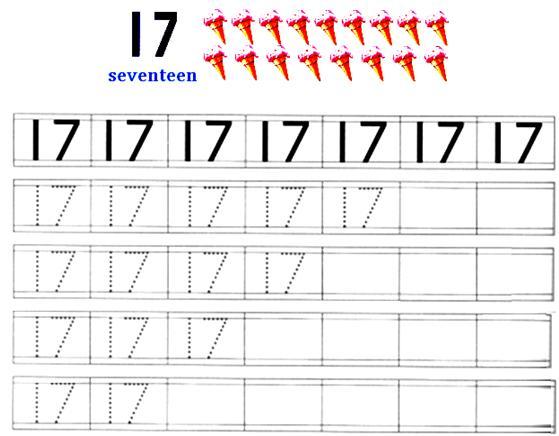 Number Names Worksheets tracing number worksheets : Worksheet on Number 17 | Preschool Number Worksheets | Number 17