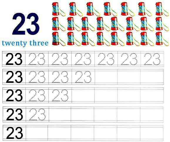 Worksheet On Number 23 Preschool Number Worksheets Number 23