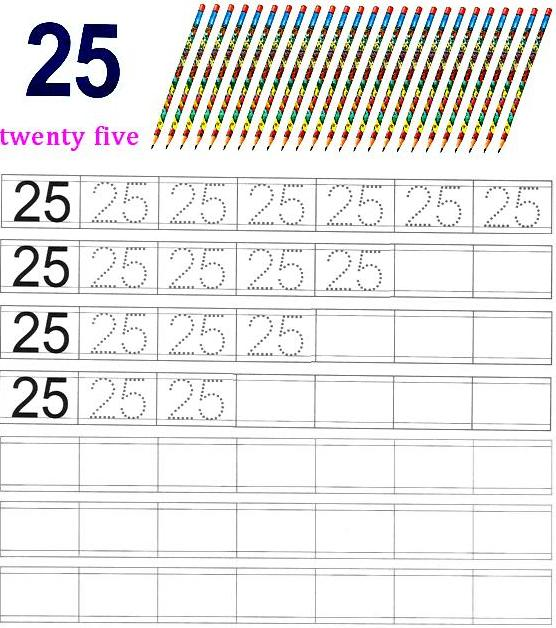 Worksheet On Number 25 Preschool Number Worksheets Number 25