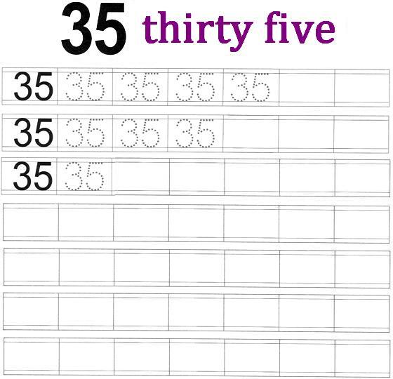 worksheet on number 35