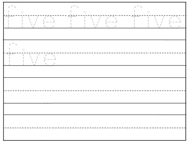 Worksheet on Number Five – Trace Name Worksheets