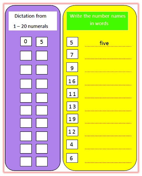 Worksheet on number names from 1 to 20,worksheet on number names