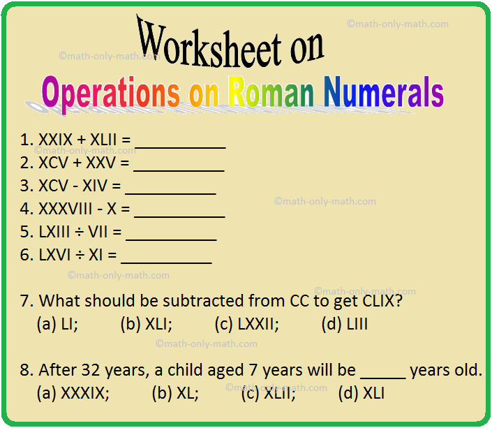 Worksheet on Operations on Roman Numerals