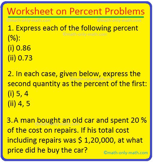 Worksheet on Percent Problems