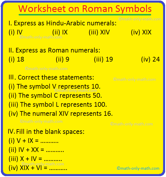 Worksheet on Roman Symbols