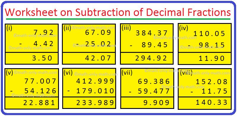 Worksheet on Subtraction of Decimal Fractions