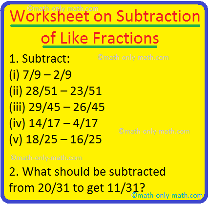 Worksheet on Subtraction of Like Fractions