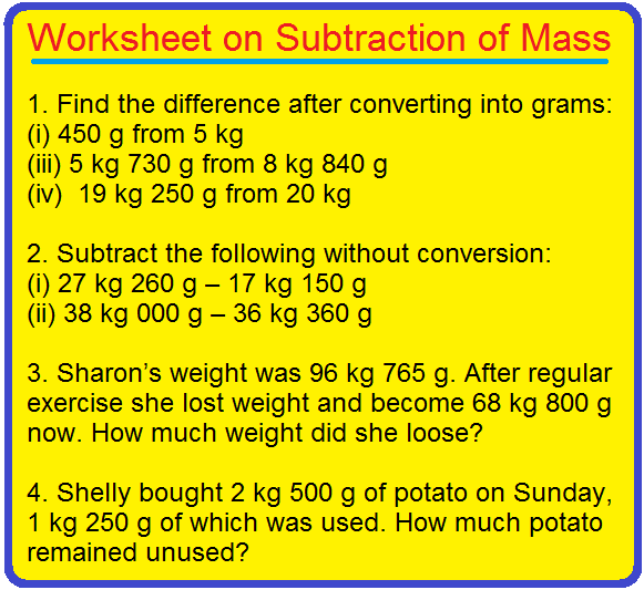 Worksheet on Subtraction of Mass