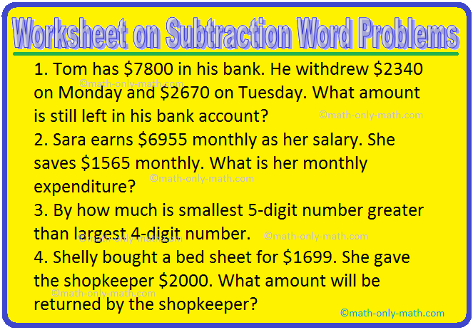 Worksheet On Subtraction Word Problems Subtraction Word Problems