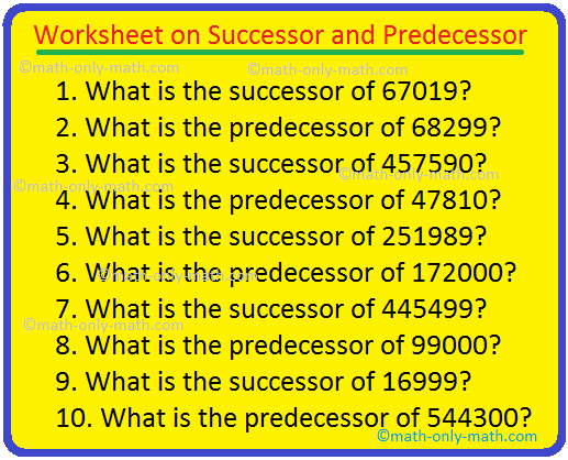 Worksheet on Successor and Predecessor