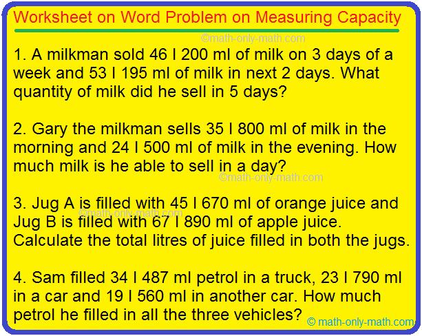 Worksheet on Word Problem on Measuring Capacity