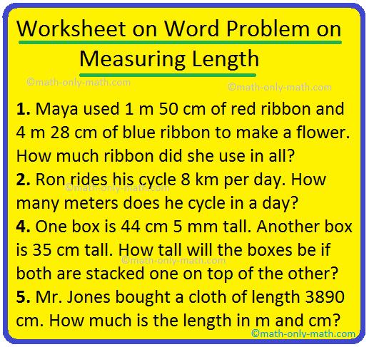 Worksheet on Word Problem on Measuring Length