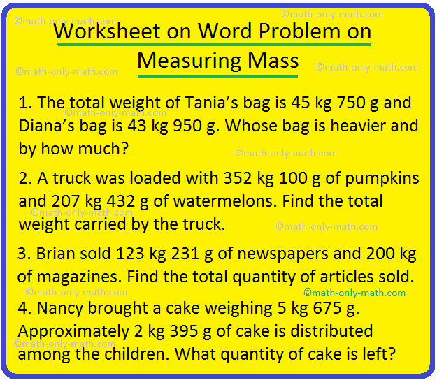 Worksheet on Word Problem on Measuring Mass