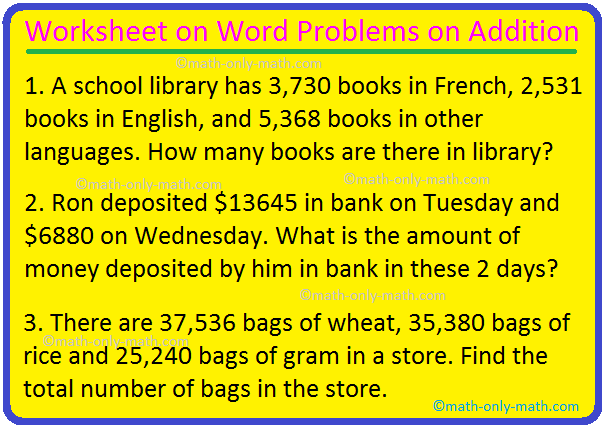 Worksheet on Word Problems on Addition
