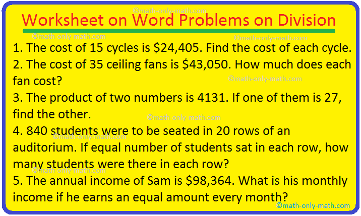 Worksheet on Word Problems on Division