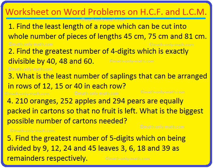 Worksheet on Word Problems on H.C.F. and L.C.M.