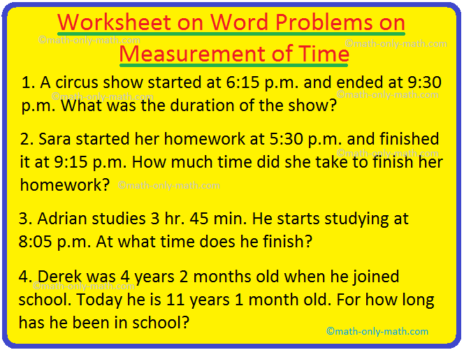 Worksheet On Word Problems On Measurement Of Time Time Measurement