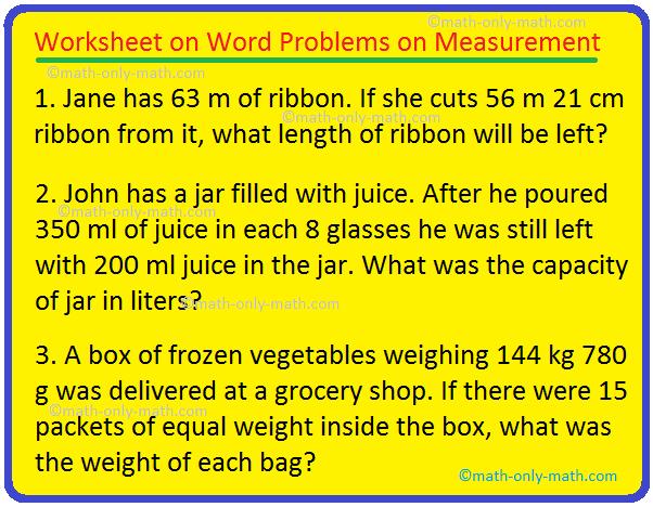 Worksheet on Word Problems on Measurement