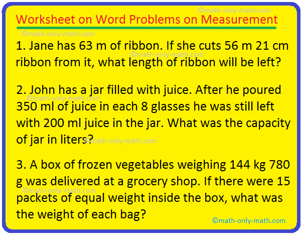 Worksheet on Word Problems on Measurement