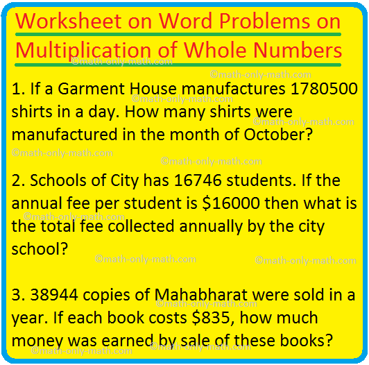 Worksheet on Word Problems on Multiplication of Whole Numbers