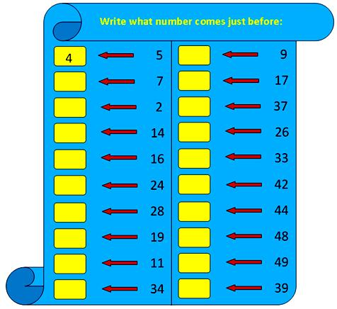 worksheets on numbers that comes before,number comes just before