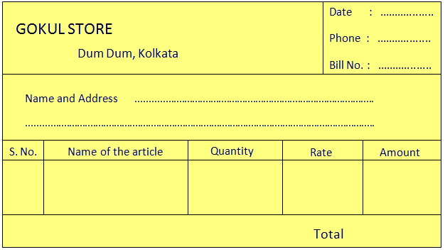 Format of a Blank Bill