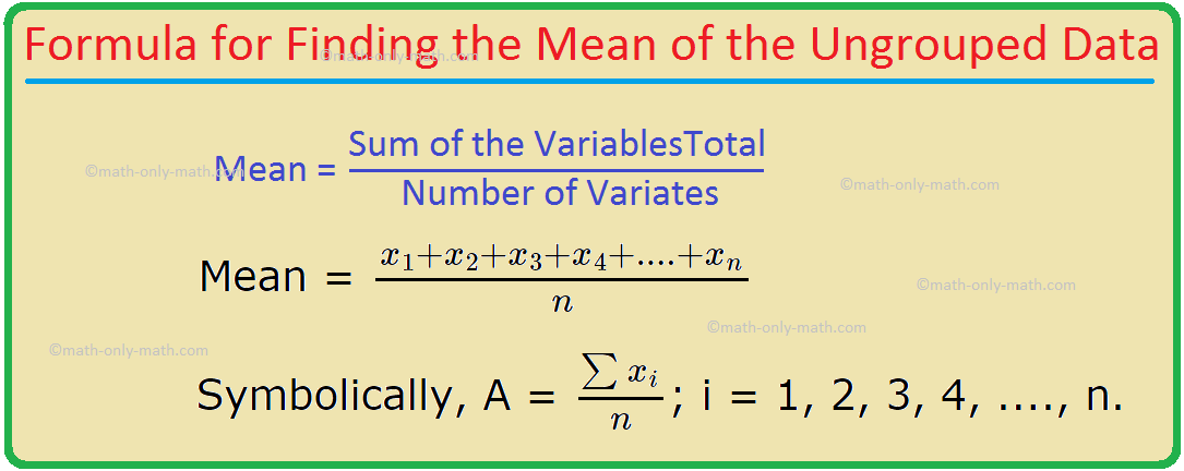 Formula for Finding the Mean of the Ungrouped Data