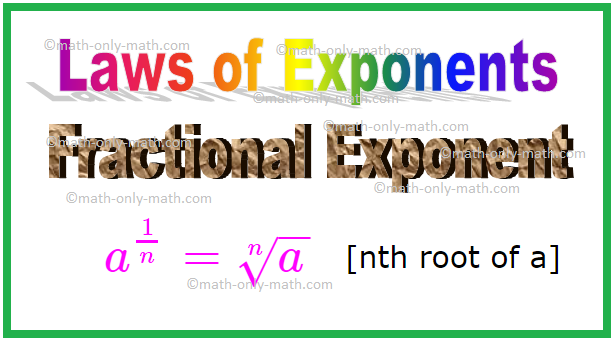 Fractional Exponent, Laws of Exponents