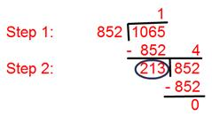 H.C.F of 852 and 1065 by using Division Method