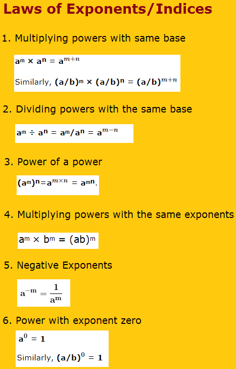 Laws of Exponents or Indices