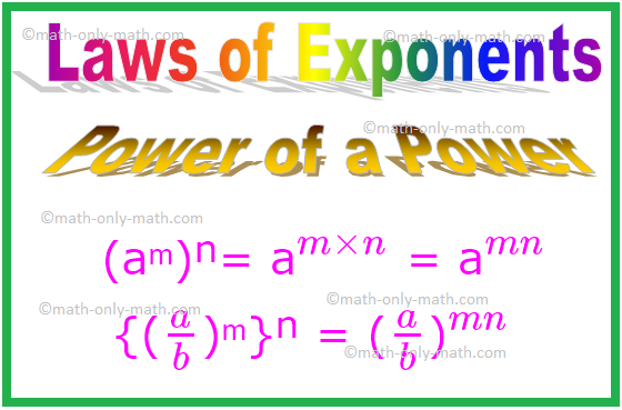 Power of a Power, Laws of Exponents