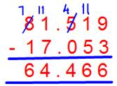 Subtraction of Decimal Fractions
