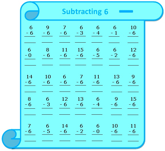 Subtraction Table on 6