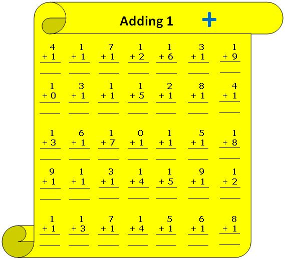 Worksheet on adding 1