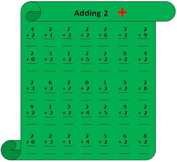 Worksheet on Adding 2