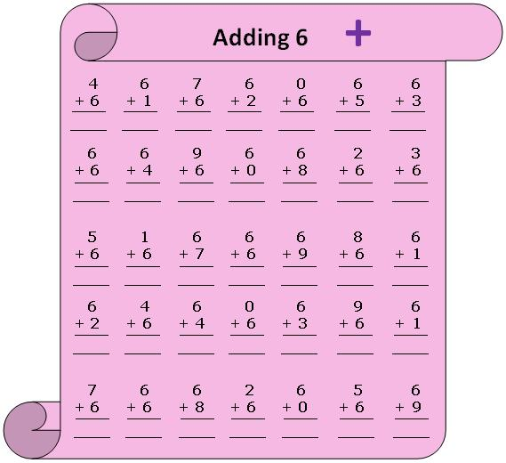 Worksheet on Adding 6