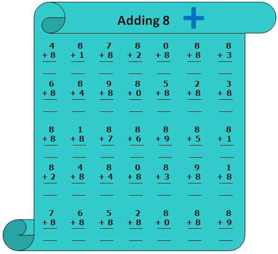 Worksheet on Adding 8