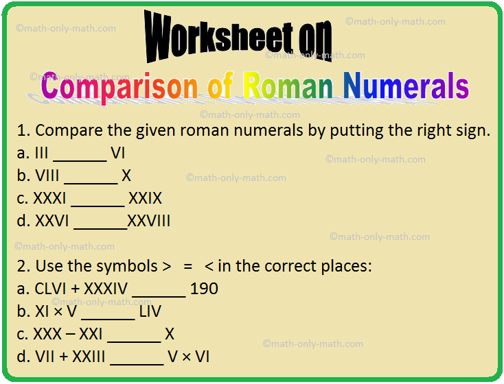 Worksheet on Comparison of Roman Numerals