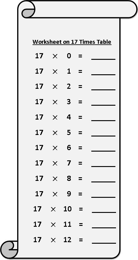 worksheet on 17 times table, multiplication table sheets, free multiplication worksheets