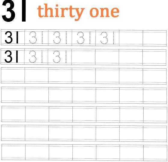 worksheet on number 31