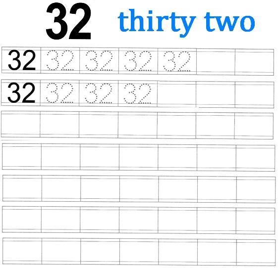 worksheet on number 32